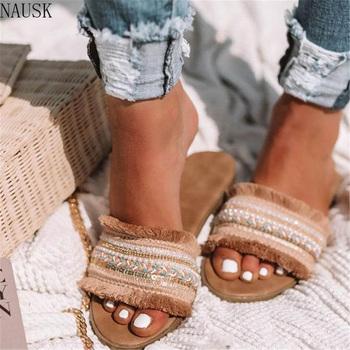 Kobiety kapcie 2019 lato nowy rzym Retro sandały codzienne buty kobieta Slip on slajdy kobieta buty Plus rozmiar Sandalias Mujer tanie i dobre opinie D01054 Otwarta Fringe NAUSK RUBBER Dla dorosłych Mieszane kolory Podstawowe Mieszkanie (≤1cm) Na co dzień Slip-on Classics