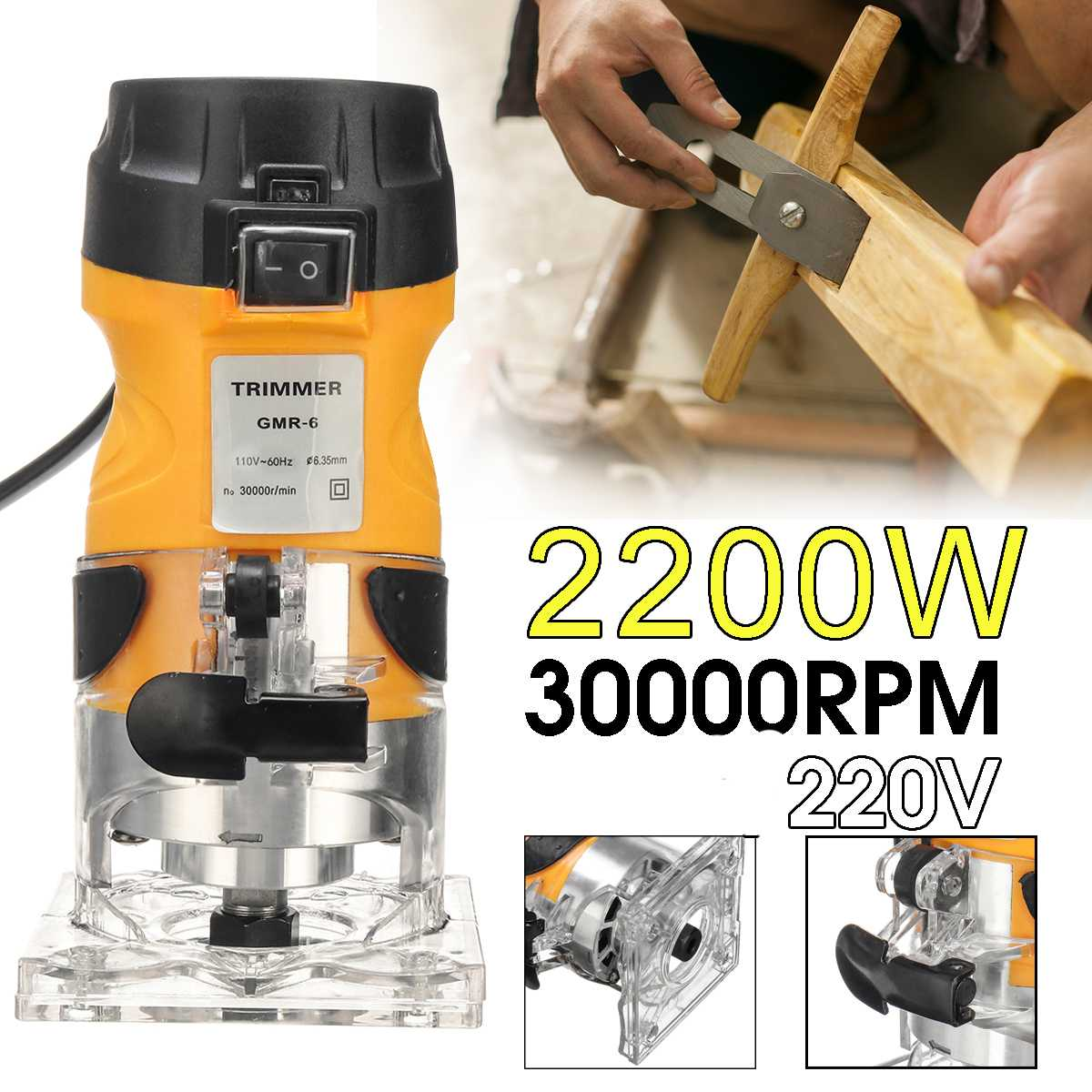 30000Rmp 2200W Woodworking Electric Trimmer Wood Milling Engraving Slotting Trimming Machine Hand Carving Machine Wood Router