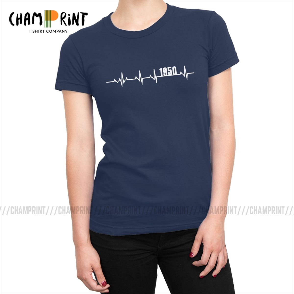 1950 Heartbeat T <font><b>Shirts</b></font> for Women <font><b>70</b></font> Years Old 70th <font><b>Birthday</b></font> Gift Ulzzang T-<font><b>shirts</b></font> O Neck Tee <font><b>Shirt</b></font> Tops Amazing Clothing Female image