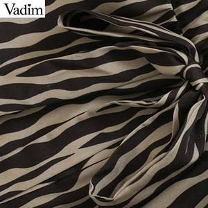 Image 3 - Vadim Nữ Vintage Họa Tiết Hình Thú Đầm Midi Tay Dài Thắt Nơ Buộc Tất Casual Nữ Kiểu Dáng Thời Trang Sang Trọng Áo Vestidos QD159