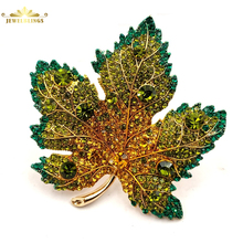 Vintage Full Micro Pave Yellow Orange Green Crystal Maple Leaf Brooch Gold Tone Short Stem Canadian Pins Fall Jewelry
