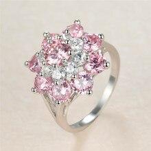 خمر الإناث الوردي كريستال حجر خاتم حلية فضية اللون الكبير خواتم الزفاف للنساء داينتي زهرة الزركون خاتم الخطوبة