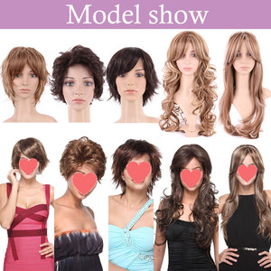 Image 2 - S noilite Ombre Synthetic Hair Wigs For African American Black Women Long Wavy Brown Mixed Two Tone Wigs With Bangs