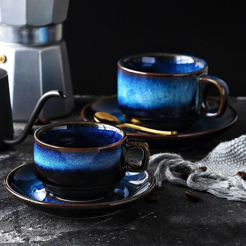 Luxurious Handmade Blue Cermic Coffee Cup