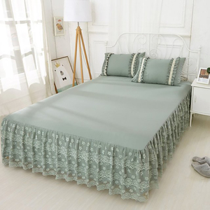 Koronka, falbany narzuta falbanka na ramę łóżka poszewki na poduszki 1/3pc jednolity kolor pokrycie materaca pościel dla księżniczki dopasowane prześcieradło król rozmiar Queen