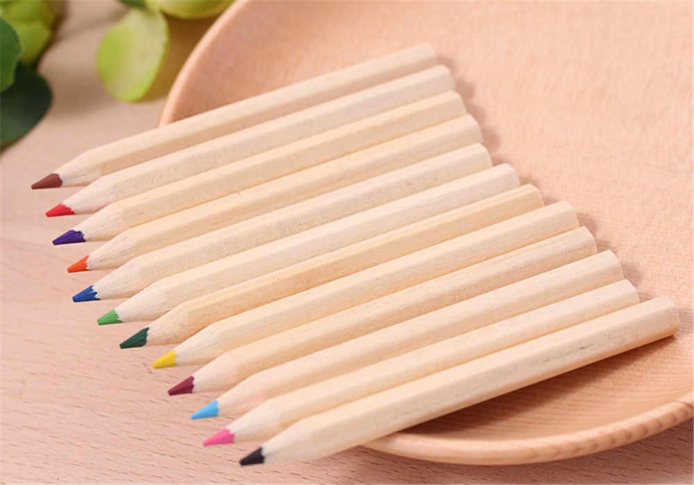 Lápiz HB pequeño de 12 colores, lápiz de Color, lápiz de plomo, papelería, escritura, pintura para estudiantes, regalo de moda F823