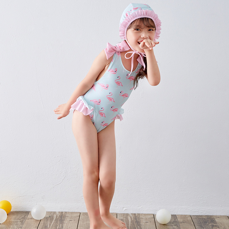 Girl'S One-piece Swimming Suit Flamingo CHILDREN'S Swimwear Swimming Cap Small Qing Xin Wen Quan Swimwear With Small Cross Backl