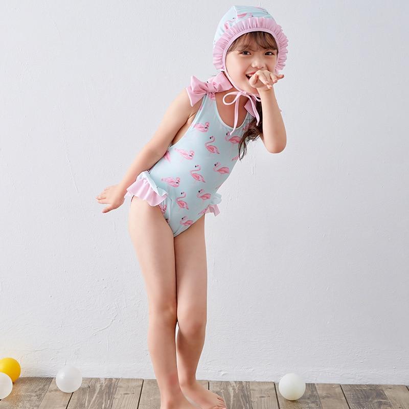 Girl'S One-piece Swimming Suit Flamingo CHILDREN'S Swimwear Swimming Cap Small Qing Xin Wen Quan Swimwear With Small Cross Backl