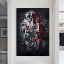 Abstract Skull Girl Canvas Art Posters and Prints Dark Rose Flowers Wall Art Paintings Pictures Cuadros for Living Room Decor