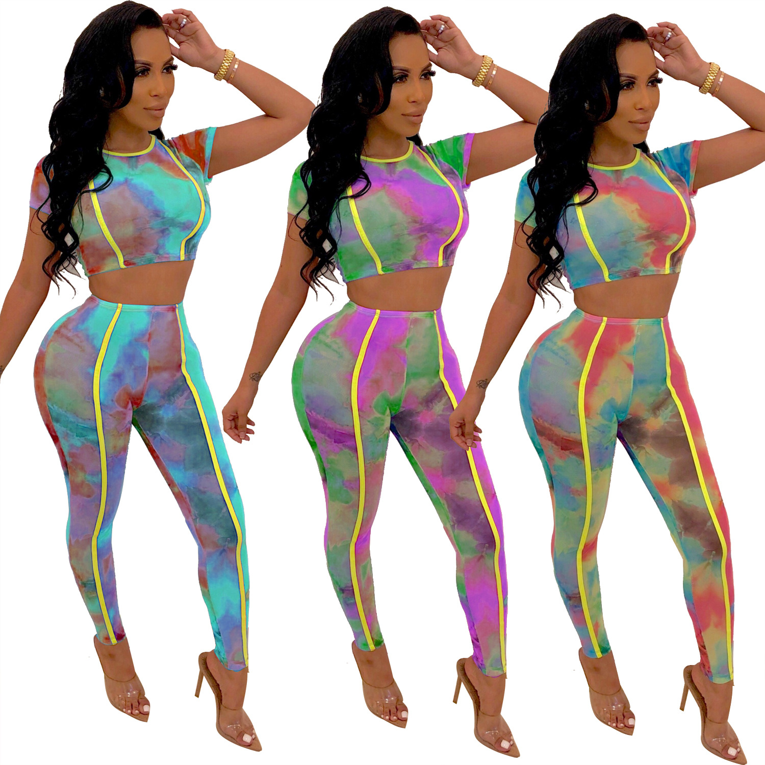 Aj4069 Separate Station Europe And America WOMEN'S Dress Sports Tie-dye Set Printed Large Size Two-Piece Set