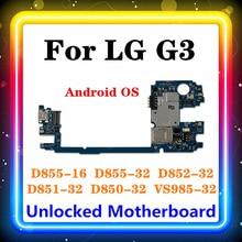 الأصلي ل LG G3 D855 اللوحة 16 جيجابايت/32 جيجابايت استبدال اللوحة الرئيسية D850 D852 D851 VS985 أندرويد OS تحديث