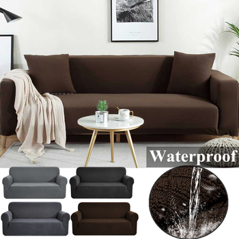 Fleece Sofa Cover Waterproof Solid Color Sofa Covers for Living Room Armchairs Stretch Covers Non-Slip Soft Furniture Protector 1