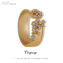 Yhpup Exquisite Cubic Zirconia Adjustable Ring for Women Charm Metal Jewelry Luxury Geometric Hollow Opening Ring кольцо 2020 chic hollow out letter opening ring for women