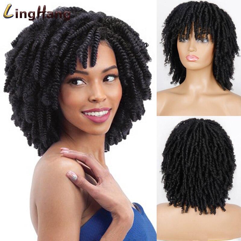 LINGHANG Soft Short Synthetic Wigs For Black Women 14 inch High Temperature Fiber Dreadlock Ombre Burg Crochet Twist Hair
