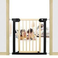 Crianças porta de segurança do bebê pet cerca de madeira maciça proteção escadas segurança porta para crianças gato do cão isolando porta barreira