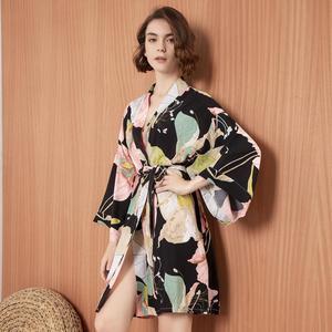 Image 1 - חדש קימונו חלוק חלוק רחצה נשים ויסקוזה שושבינה גלימות סקסי הדפסת גלימות ויסקוזה Robe גבירותיי הלבשה שמלות