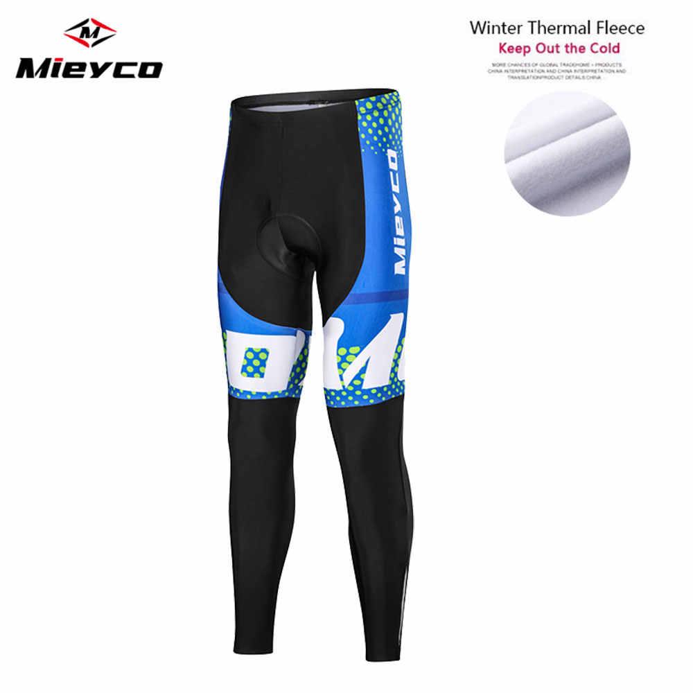 Men Winter Cycling Bib Pants Gel Pad Bike Pants Thermal Fleece Bicycle Tights