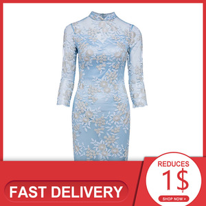 Image 1 - Dressv elegant cocktail dress blue high neck 3/4 sleeves knee length sheath gown lady homecoming short cocktail dresses