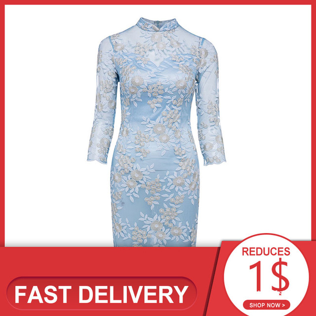 Dressv elegant cocktail dress blue high neck 3/4 sleeves knee length sheath gown lady homecoming short cocktail dresses