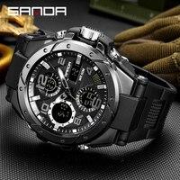 Reloj de pulsera militar deportivo para hombre, cronógrafo masculino de marca, reloj de pulsera de doble pantalla, resistente al agua, para exteriores, SANDA Hour