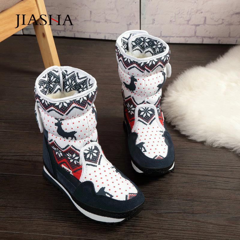Women snow boots antiskid plus velvet warm winter boots women shoes christmas deer brand fashion style waterproof women boots image