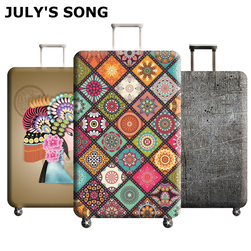 JULY'S SONG Elastic Thickest Luggage Cover For Trunk Case Apply To 18''-32'' Case,Suitcase Protective Cover Travel Accessories