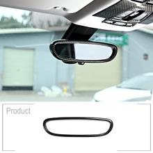 цена на Carbon Fiber Interior Rearview Mirror Frame Cover Trim Car Accessories For BMW X1 F48 2016-2018 1 Series F20 2011-2015