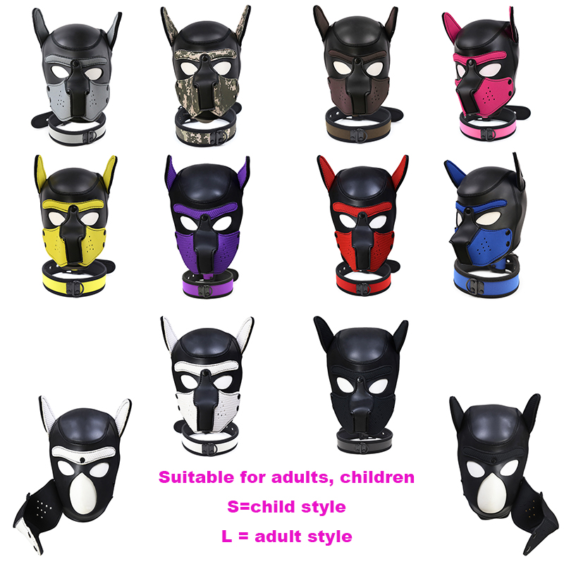 New Fashion Dog HeadMask Christmas Role Play Puppy Cosplay Full Head With Ears Nightclub Performances Party 10 Color