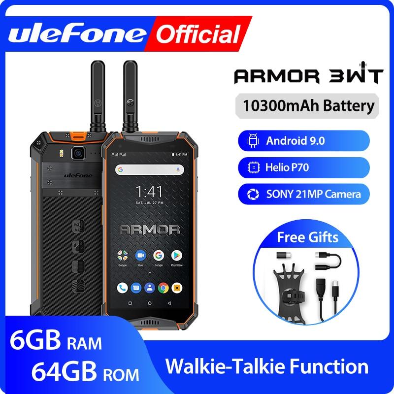 Смартфон Ulefone Armor 3WT, 6+64ГБ, с функциями рации, Android 9.0, камера 21МП, 2 сим-карты, чёрный/оранжевый