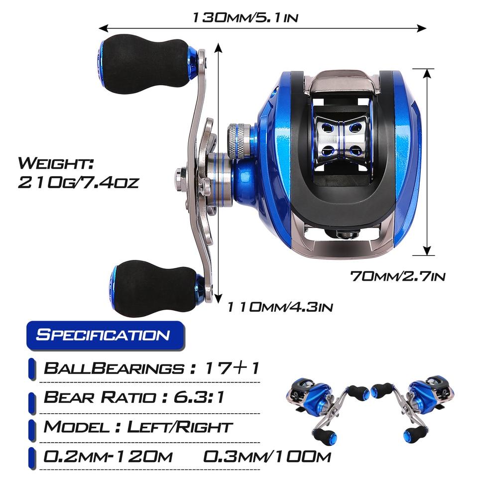 Azul XINFULUK Carrete de Pesca de Agua Dulce Ultraligero de Arrastre de Fibra de Carbono Giratorio SA1000-7000 Series 6BB Spin Plastic con balanc/ín de Metal