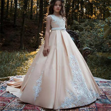 Fashion Satin Flower Girl Dresses Sleeveless Lace Applique Princess Wedding Birthday Party Girls Pageant Holy Communion Dresses