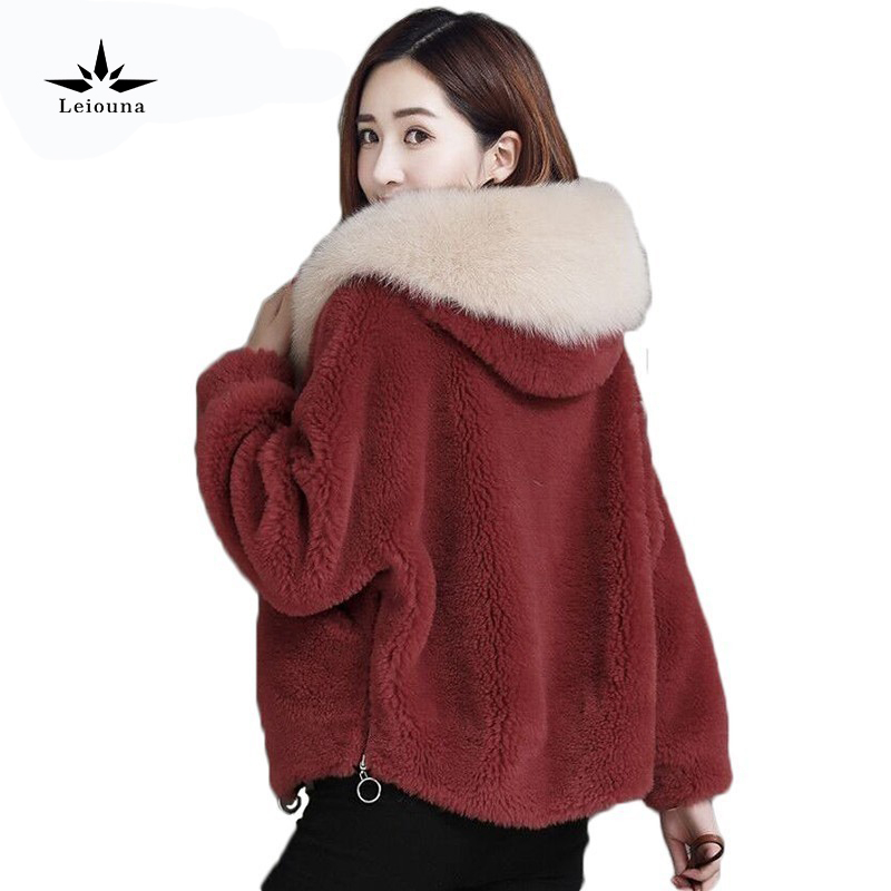 Leiouna Winter Loose Teddy Bear Casual High Waist Faux Mink Fashion Furs Parka For Women Coats Leather Femme Plus Size