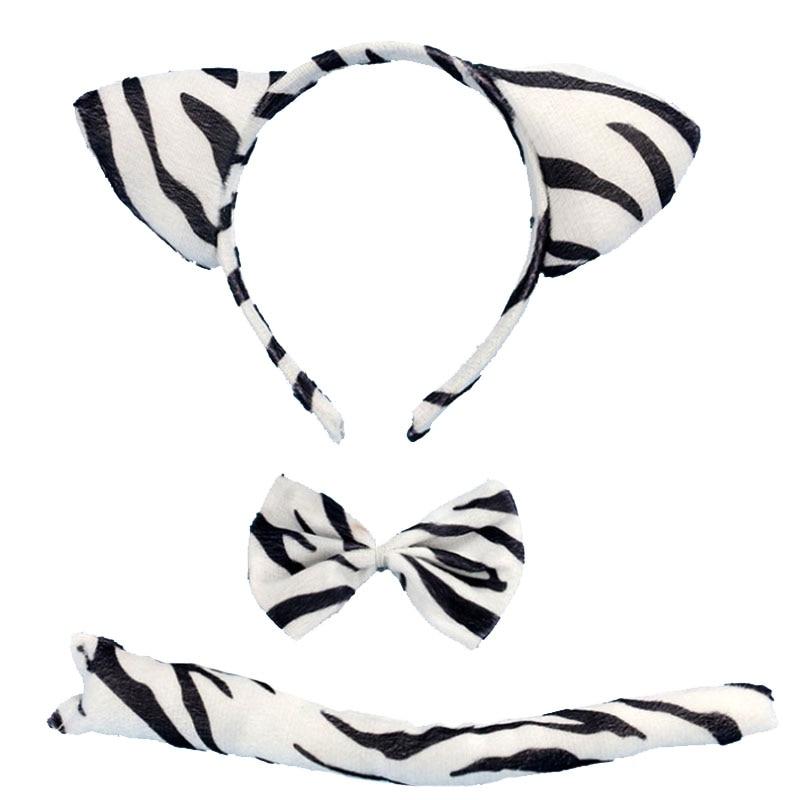 Детская повязка на голову с ушками животных для мальчиков и девочек; комплект с галстуком-бабочкой и хвостом для детей и взрослых; карнавальный костюм; вечерние аксессуары для волос - Цвет: 34