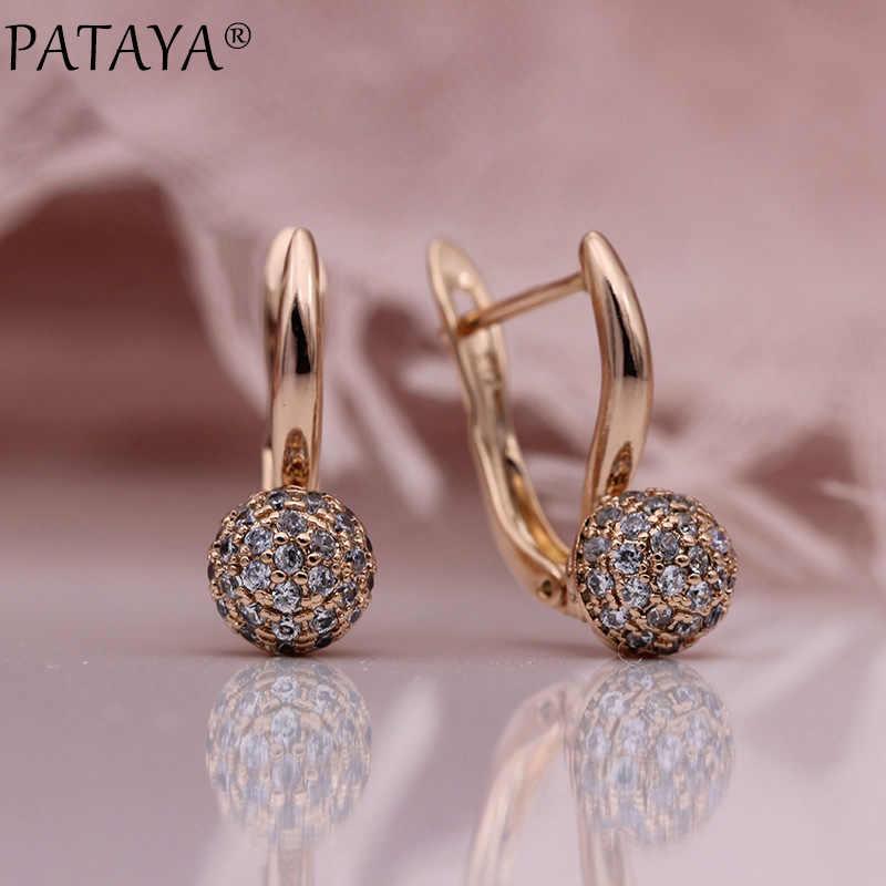 Pataya Baru 585 Mawar Emas Bulat Anting-Anting Menjuntai Mikro Lilin Inlay Alami Zircon Trendi Wanita Anting-Anting Pernikahan Fashion Perhiasan