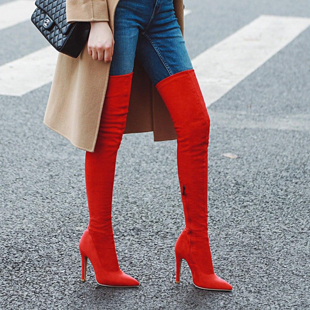 Новая Брендовая женская обувь женские ботфорты выше колена, большие размеры 32-48 пикантные вечерние сапоги на тонком высоком каблуке Женская обувь