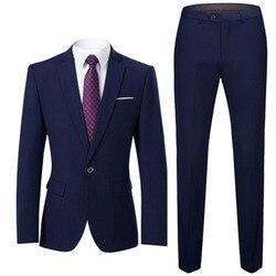 Мужской деловой костюм, приталенный офисный костюм для свадьбы, жениха, вечерние костюмы из 2 предметов, пиджак и брюки с отложным воротнико...
