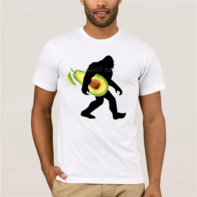 Men's Cool Sleeve T-Shirt men Bigfoot Carrying Avocado Shirt Funny Keto Vegan Sasquatch fashion T-shirt men