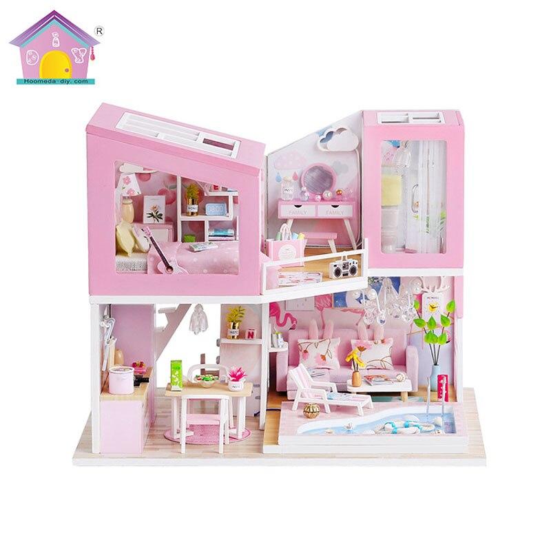 Hoomeda-Diy Mini Casa Creative Handmade Wooden Lights Lighting Building Model Doll House Birthday Christmas Toys For Children