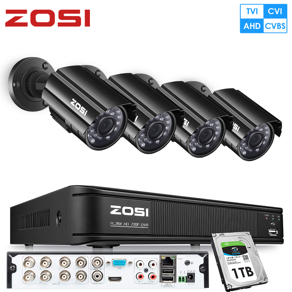 ZOSI 720P 8CH 4-in-1 CVBS AHD TVI CVI CCTV System Outdoor Nightvision Video Camera Security System Surveillance DVR Kit Videcam