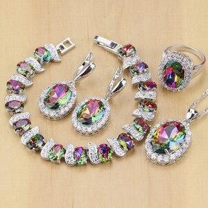 Image 2 - Mystic tęczowy ogień cyrkonia biżuteria ustawia kobiety biżuteria ze srebra próby 925 kolczyki/wisiorek/naszyjnik/pierścionki/bransoletka