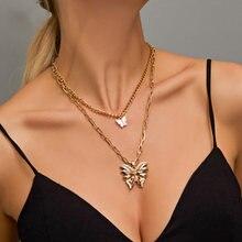 Multicapa bohemios para mujer y hombre de mariposa de oro retrato de moneda Cruz de cristal gargantillas... conjuntos de collar
