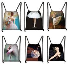 Cartoon taniec baletowy dziewczyny torba ze sznurkiem kobiety moda torby do przechowywania nastolatek plecak dla dziewcząt dzieci bookbag tanie tanio Płótno CN (pochodzenie) WOMEN 19100802