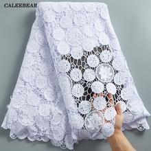 Yeni pamuk saf beyaz afrika danteli kumaş gipür suda çözünür dantel malzeme düğün elbisesi dikmek S2283