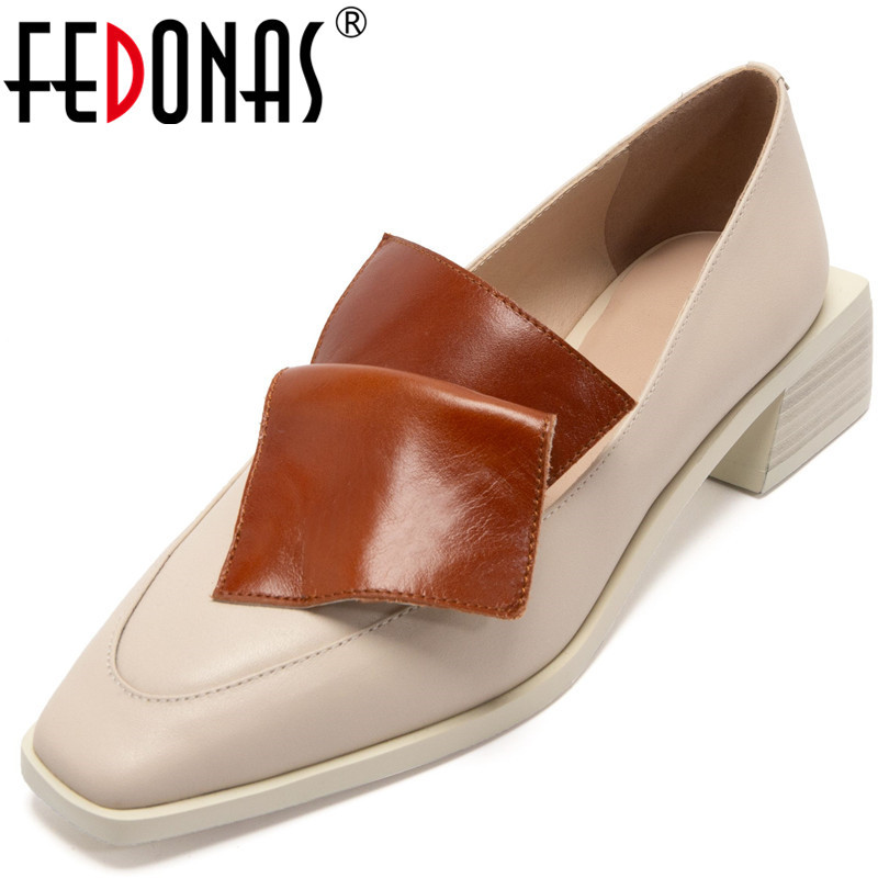 FEDONAS Elegant 2020 New Women Color Matching Party Basic Shoes Fashion Square Toe Pumps Spring Summer Thick Heels Shoes Woman