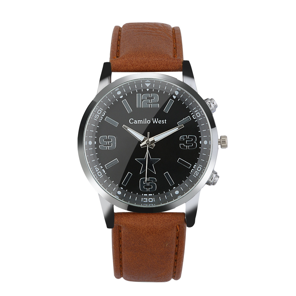 New Fashion Watches Quartz Men's Watch Blue Glass Leather Belt Watch Men Wrist Watches Cheap Relogio Masculino Hot Sale