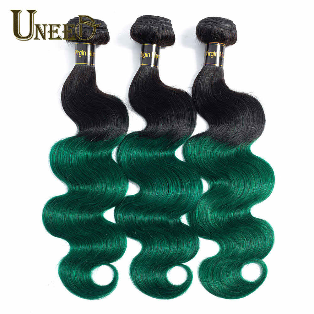 Uneed Ombre T1B/Groen Peruaanse Body Wave Bundels 1/3/4 Stuks No-Remy Human Hair weave Bundels Dark Roots Two-tone Hair Extensions