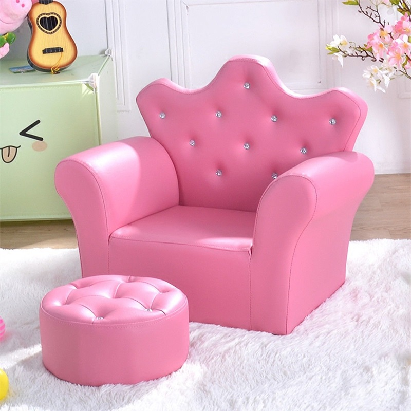 Pink Kids Sofa Armrest Couch With Ottoman High Quality Children Sofa Set Living Room Furniture HW54194