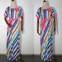 African Dresses For Women Colour Stripe Clothes Ankara Dress Womens 2019 Long Dashiki