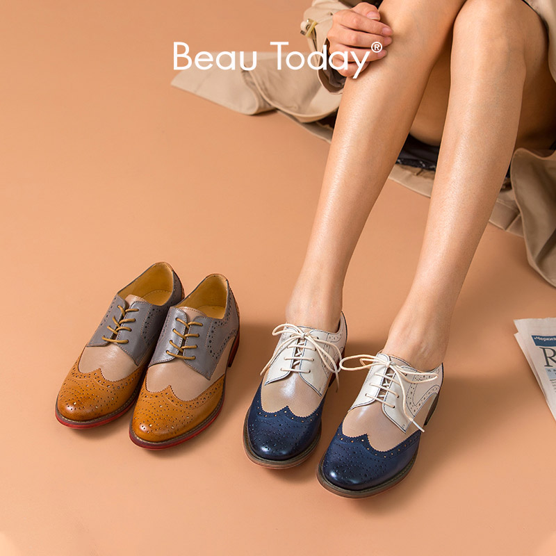 BeauToday Brogue Shoes Mixed Colors Wingtip Top Brand Genuine Leather Handmade Lace-Up Round Toe Waxing Sheepskin Shoes 21025
