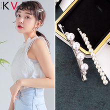 KVJE Pearl Hair Clip for Women 2019 New Product Princess Girls Accessories Factory Promote Sales Tiara Barrettes